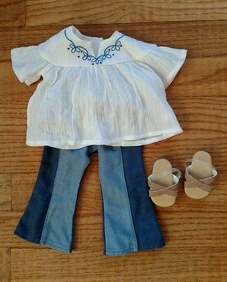 Genuine American Girl doll  jeans, shirt, and sandals.