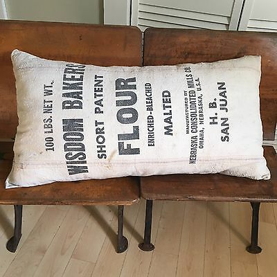 Antique Vintage Grain Sack Pillow Bakeries Primitive Farmhouse Flour Seed Old