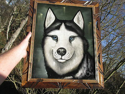 ALASKAN HUSKY vtg black velvet david ortiz sled dog snow painting russian art