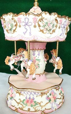 "Exquisitely Detailed 4 Horse Musical Carousel with Original Box ""Skaters Waltz"