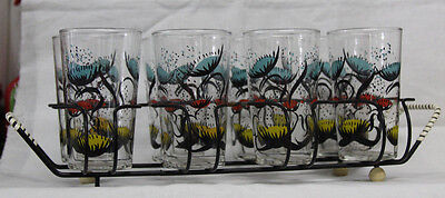 Vintage Libbey Drinking Glasses in Carrier- Black, Blue, Red & Yellow Flowers