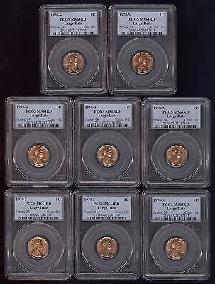 8 PCGS Graded 1970-S Large Date Lincoln Cents