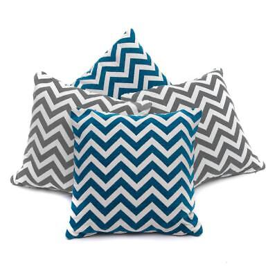 Collection of 4 Grey & Teal Blue Chenille Geometric 18 inch Cushion Covers SALE