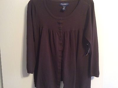 New Additions Maternity Womens 3/4 Sleeve Size L Cardigan Sweater Brown