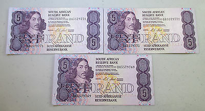 (3) South Africa 5 Rand Notes in SEQUENCE, CONSECUTIVE SERIAL NUMBERS - Lot M3