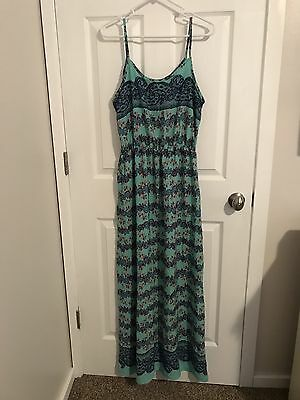 Pink Blush Mint, Blue And Pink Floral And Lace maternity Maxi Dress Size Lg