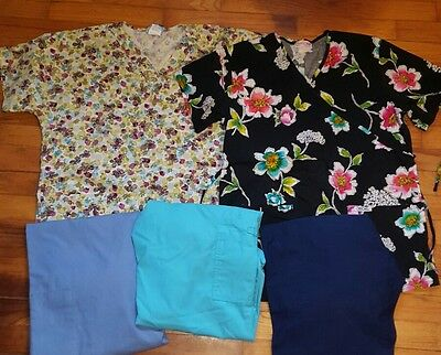 SCRUBS 2 tops 3 pants  S XS blues black floral