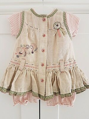 Beautiful Baby Girls Mamas & Papas 2pc summer outfit dress & romper Age 0-3 mth
