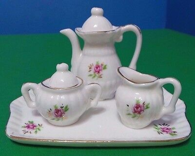 Pink Rose Porcelain Children Child Miniature Tea Set Tray Gold Trim