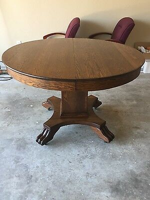 Antique Round Oak Clawfoot Dining Table Claw Feet