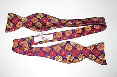 Carrot & Gibbs Bow Tie Purple with Flowers NWT