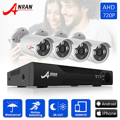 ANRAN 4CH 720P 1800TVL AHD CCTV Security HDMI DVR Video System Outdoor IR Vision