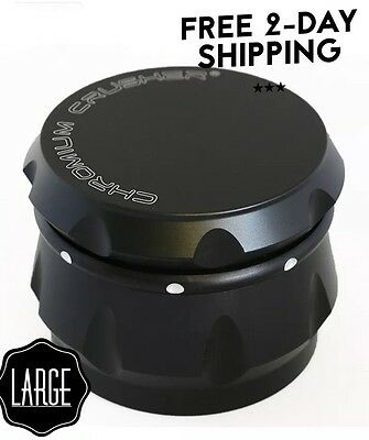 Chromium Crusher Drum 2.5 Inch 4 Piece Tobacco Spice Herb Grinder - Black