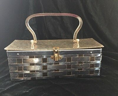 Vintage 1960s Banded Gold & Silver Metal And Lucite Purse