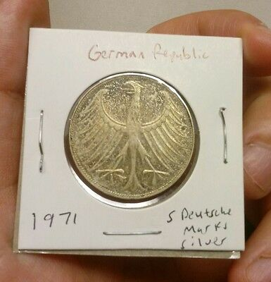 1971 Germany - Federal Republic 5 Mark silver coin