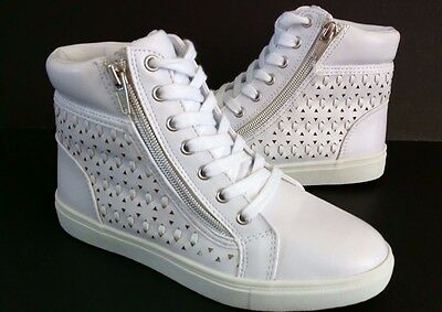 Girls Shoes Size 13,1,2,3,4 HI TOP Sneakers Boots WHITE Leather Easy Zip Up