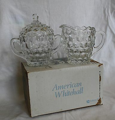 Indiana Glass Clear American Whitehall 3 Piece Cream & Sugar Set new old stock