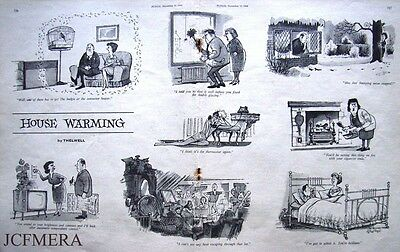 "1964 Original THELWELL Punch Cartoon Print : ""House Warming"""