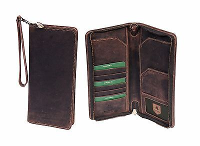 Leather Travel Wallet Vintage Brown Tan Cards ID Passport Boarding Pass Purse