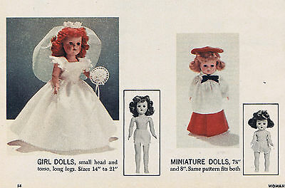 "7.5""-21"" Vintage 1956 Master Multi-Doll Clothes Patterns & Article"
