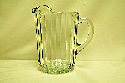 Vintage Heavy Clear Glass Water / Beer Pitcher (#s7631)