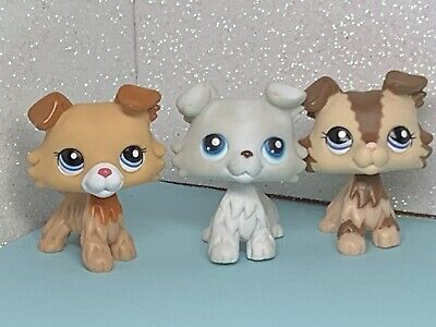 3 X Littlest Pet Shop LPS Collie Dogs # 2452 #2210 Grey Collie #363 Dog Cute Set