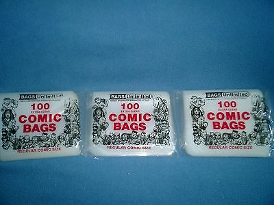 Vintage comic bags from Bags Unlinited 3 bags comes with Original Catolg