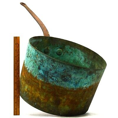 Antique HUGE COPPER POT 4-Gallon/17-Quart w/ CAST IRON HANDLE Exceptional Patina