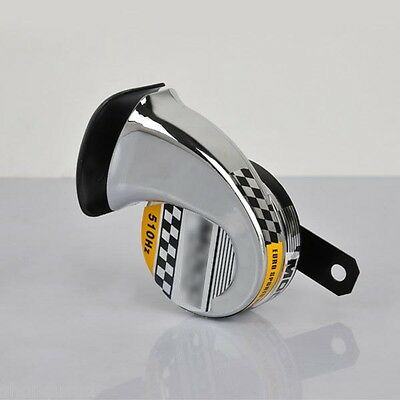 KLAXON Chrome 12V 40W 510Hz Corne Moto Son Harley Chopper Custom Café racer ...
