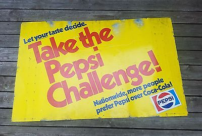 "Dec 1976  large. Metal. 2 sided""take the pepsi challange"" sign RARE!!! 60×38"""
