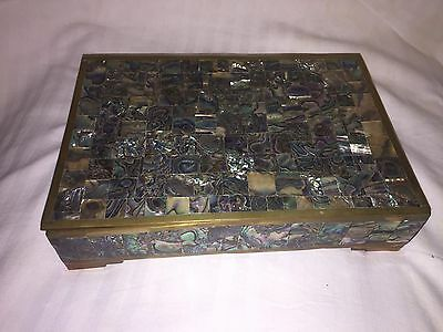 Vintage Abalone And Brass Wood Lined Box Mexico Taxco