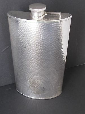 Antique Hammered Silver Plate Liquor Flask