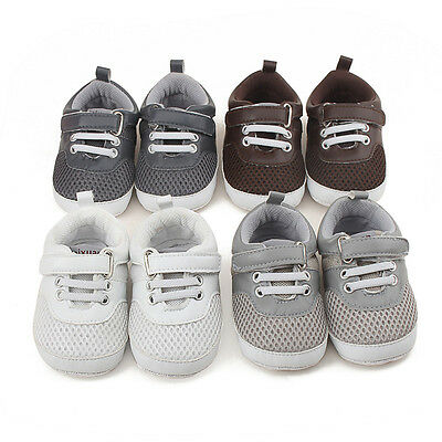 Newborn Baby Boy Girl Pre-Walker White Soft Sole Crib Shoes Sneakers 0-18 Months