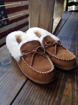 Vermont Country Store Shearling Slippers Bedroom Shoes Chestnut Brown Ladies 10