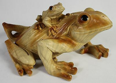 FROG & BABY FAUX WOOD CARVING FIGURE Statue Animal Art NEW Resin Reptile Toad