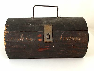 Antique Hand Made Wood Folk Art Lunch or Tool Box