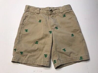 Boys GYMBOREE sz 5 Shorts With Green FROGS Embroidered Adjustable Waist EUC