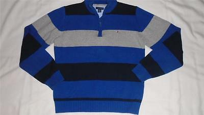 Boys Size 8/10 Tommy Hilfiger Sweater Striped Zip Collar