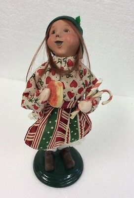 Byers Choice Caroler Santas Helper Girl Elf With Candy Canes & Cookie