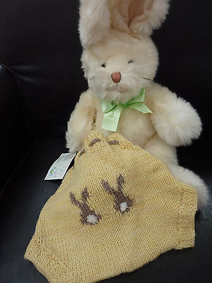 Pure wool hand knitted soaker nappy diaper cover rabbits bunnies