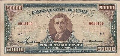 Chile Banknote  P# 123  50,000 50000 50.000 Pesos Two Graffiti Signatures