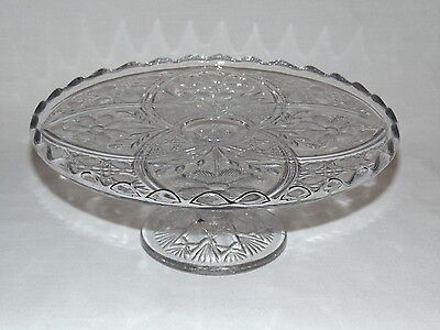 ANTIQUE VICTORIAN EARLY AMERICAN PRESSED GLASS Eapg PEDESTAL CAKE STAND 1898 A+