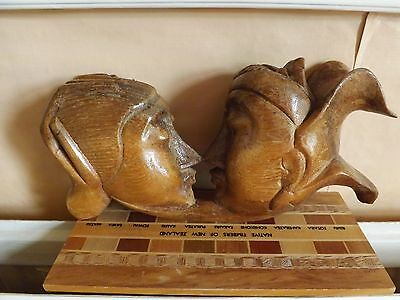 Antique/Vintage Japanese Boxwood??? Carving of two people. Very Unusual..