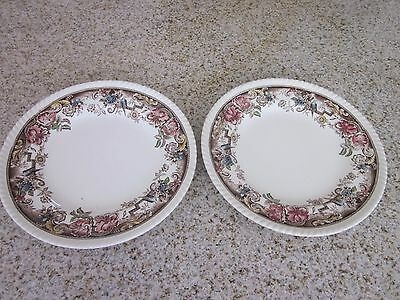 "2 Vintage-Johnson-Brothers-Devonshire- Brown multi colored 10""-dinner-plates"