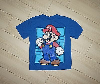Boys SUPER MARIO Graphic Tee Shirt T Shirt Blue Short Sleeve S Small