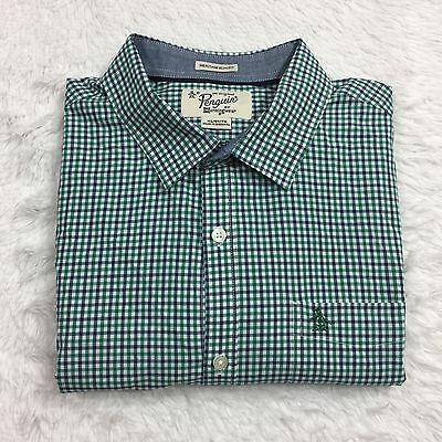 PENGUIN Men's Size XL Dress Shirt Heritage Slim Fit Blue Green Plaid Check
