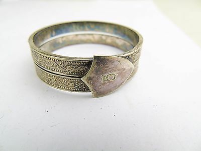 Antique Silver Plate White Metal Number 5 Shield Napkin Ring