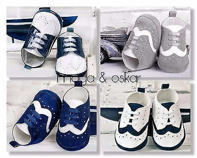 Baby Boys Faux Leather Suede Pram Shoes Christening Wedding Smart Formal Party