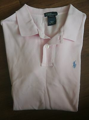 Ralph Lauren Boys Short Sleeve Classic Polo Shirt Sz L 16 18 Pink