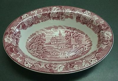 Oval Vegetable Bowl Enoch Wood & Sons English Scenery Red
